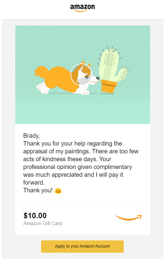 Appraisal Thank you note Amazon